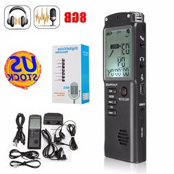 16GB 8GB Rechargeable LCD Digital Audio Sound <font><b>Voice