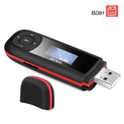 AGPTEK Mini MP3 Player Support AAA battery 16GB USB Stich Mu