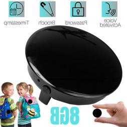 8GB Brooch Audio Spy Mini Voice Recorder Voice Activated Mic