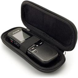 iGadgitz Black EVA Carrying Hard Case Cover for Sony ICD-BX1