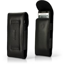 iGadgitz Black Genuine Leather Case Cover for Olympus WS-852