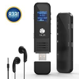 Digital Voice Activated Recorder 16GB Sound Audio Playback P