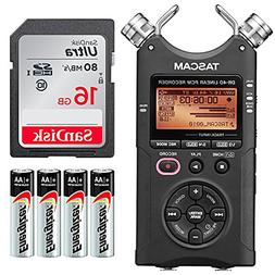 Tascam DR-40 4-Track Handheld Digital Audio Recorder - Bundl