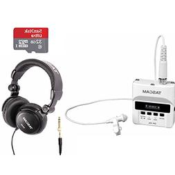 Tascam DR-10L White Digital Recorder Lav Mic System with 32G