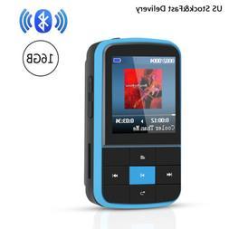 AGPTEK MP3 Player Bluetooth 4.0 16GB with Clip FM Radio Port