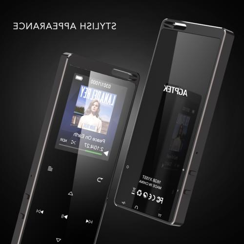 AGPTEK MP3 16GB FM Recorder Touch Black