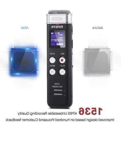 EVISTR 16GB Digital Recorder Dictaphone Activated Recorder w/ Playback