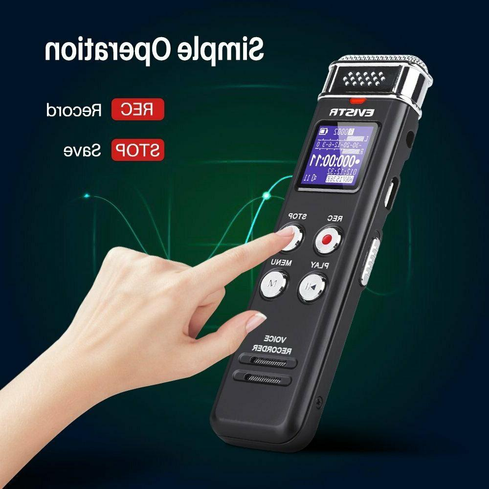 EVISTR 16GB Digital Voice Recorder Activated with