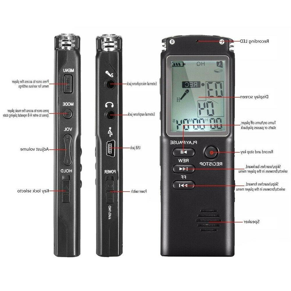 16GB Rechargeable Digital Audio Voice Recorder Dictaphone