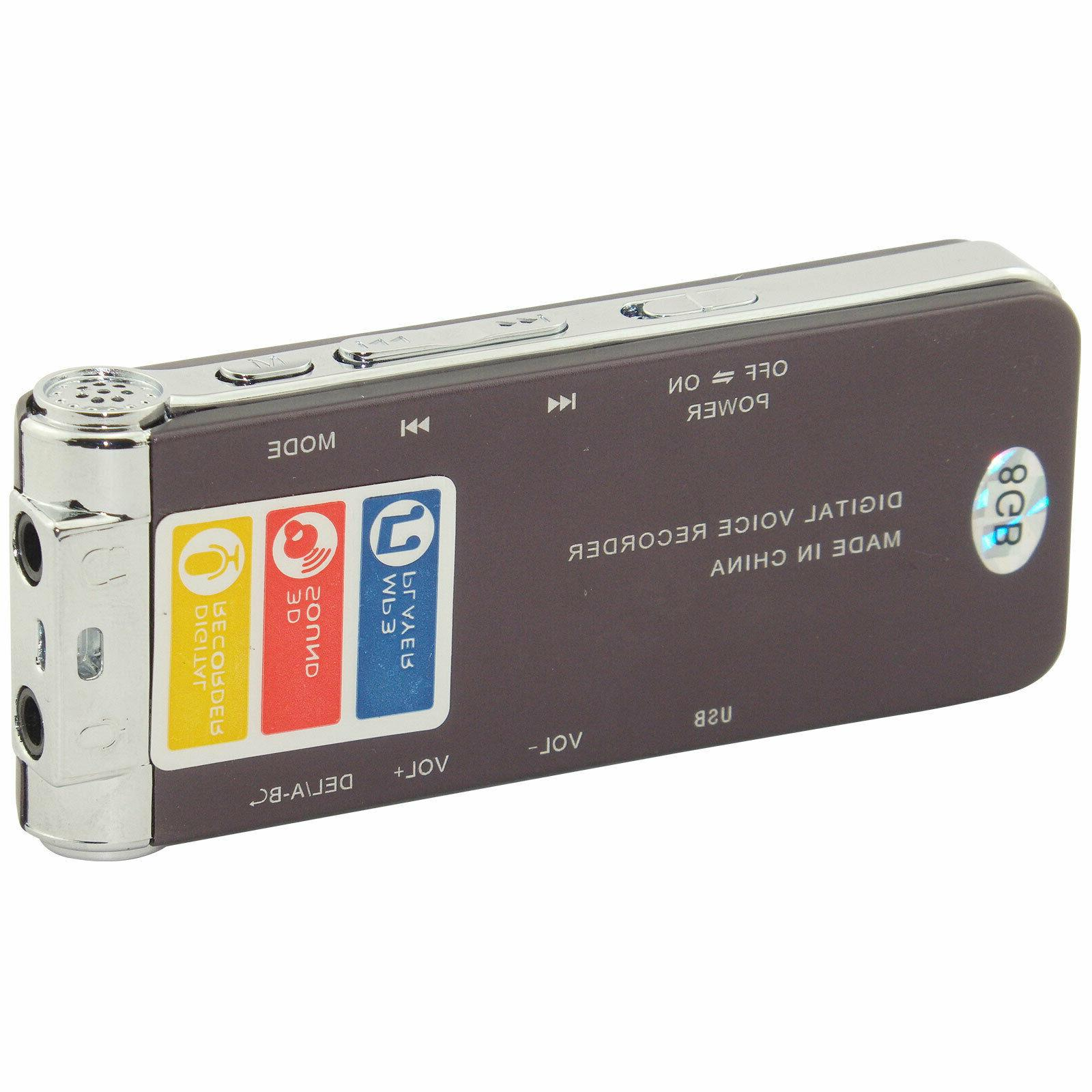 8GB USB Digital Sound Voice Recorder Dictaphone MP3
