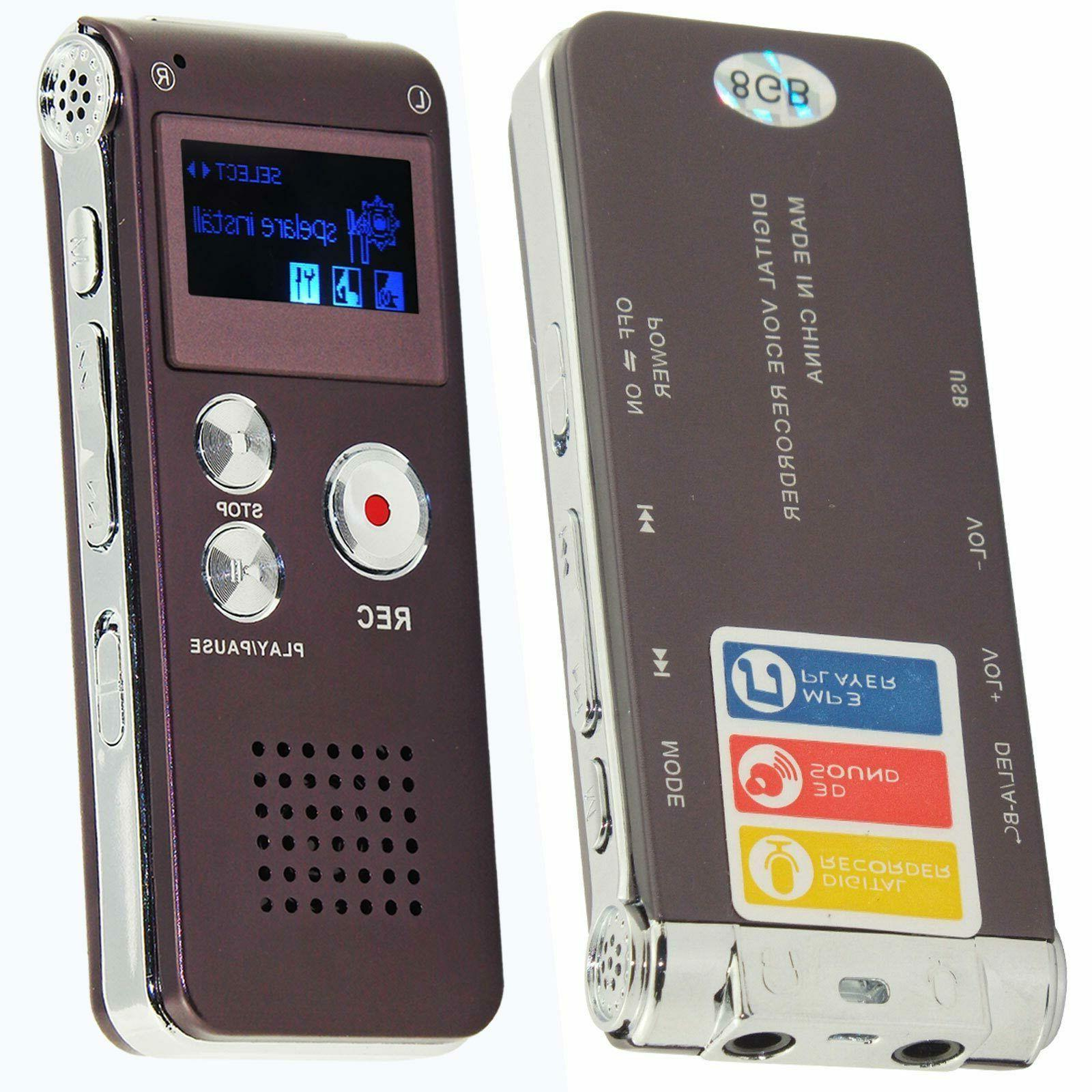 8GB Sound Voice Recorder Dictaphone MP3