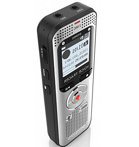 "Philips DVT2000 Voice Tracer Digital Recorder - 1.30"" - Silv"