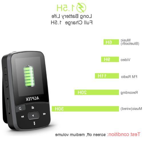 AGPTEK Bluetooth 16GB with Clip FM Radio