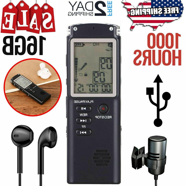 Digital Voice Recorder 16GB Dictaphone Audio Sound Mini Smal