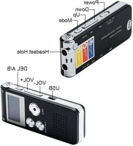 16GB Voice Activated Digital Sound Audio Recorder Dictaphone MP3