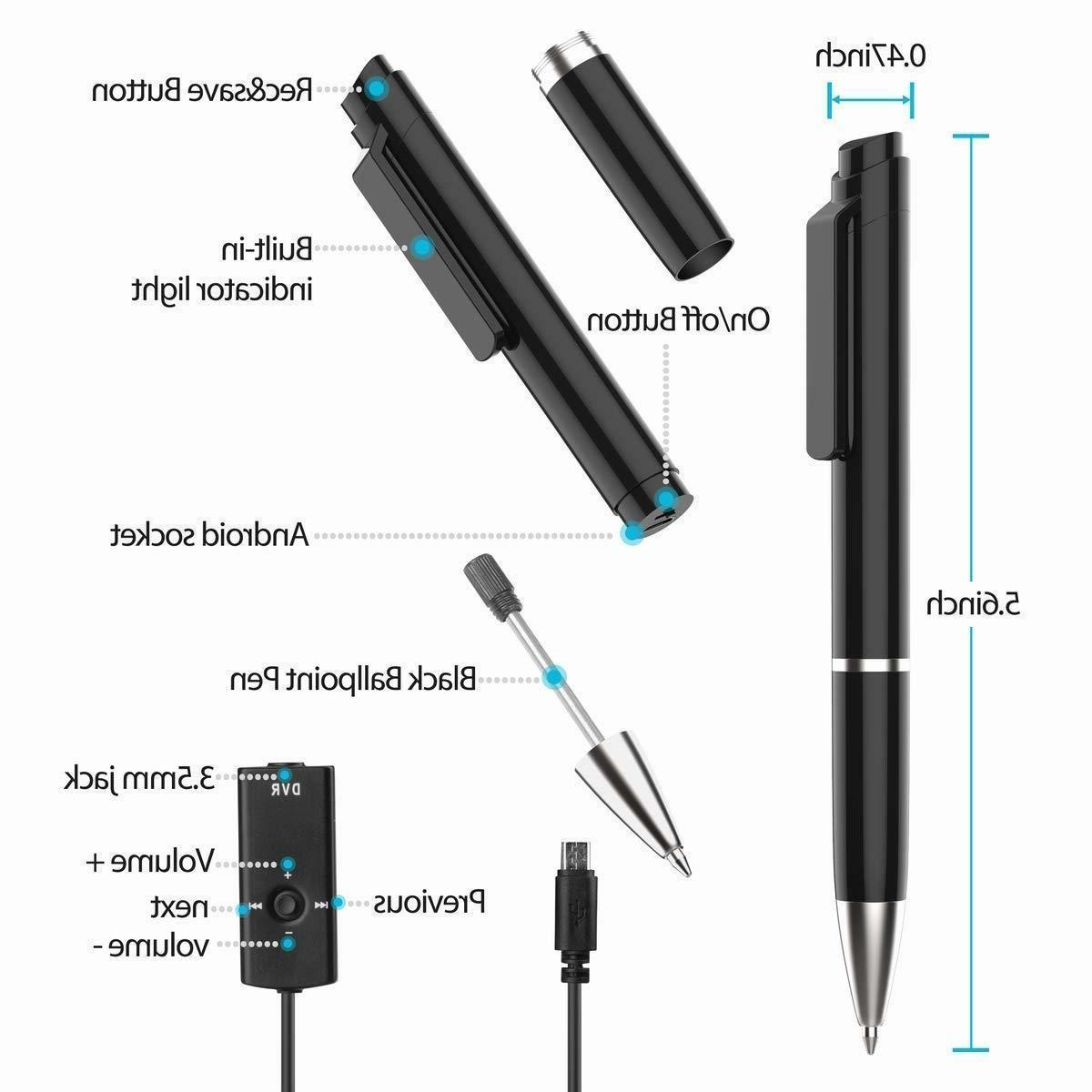 Cooligg Dictaphones 8GB Spy Pen MP3 USA