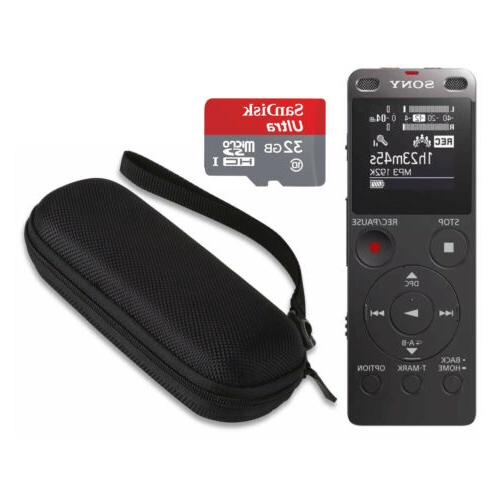 icdux560blk stereo digital voice recorder with built