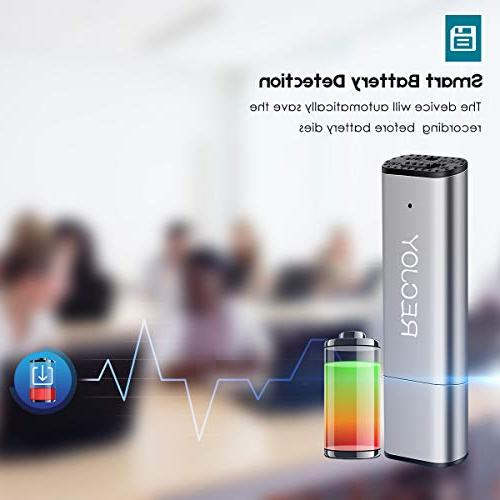 Mini Voice Lectures RECJOY,16GB Digital Audio 72Hours Recording Device,Rechargeable,Metal
