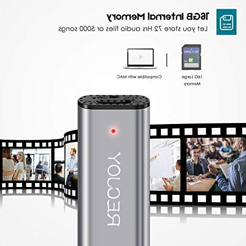 Mini Voice Recorder for Lectures RECJOY,16GB Digital Device,Rechargeable,Metal
