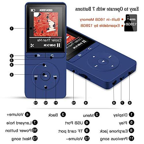 16GB MP3 Player, A20S with FM Radio/Voice Recorder for Sport,Dark