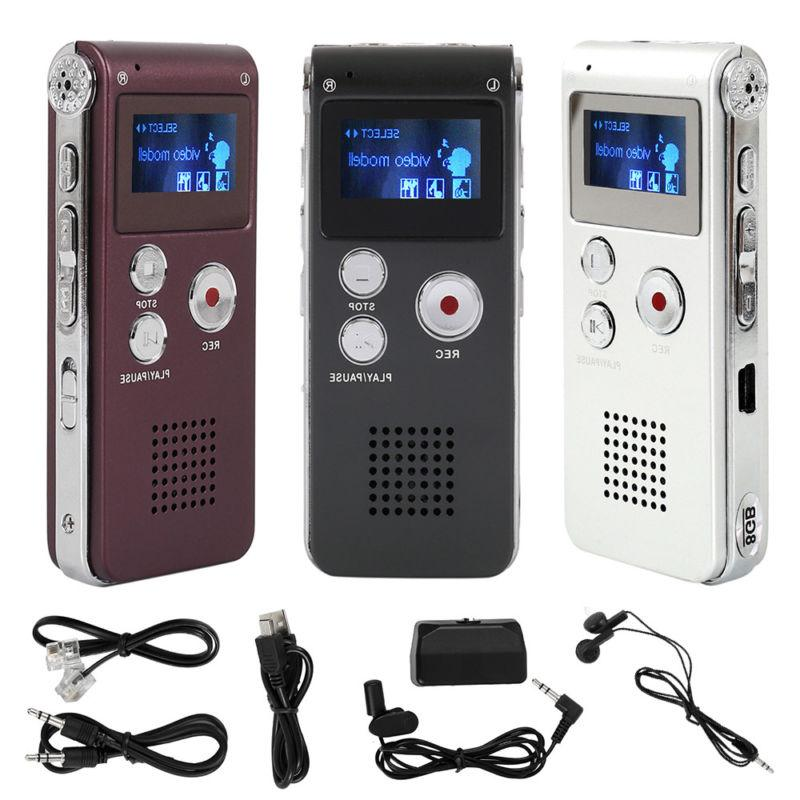 rechargeable 8gb digital audio sound voice recorder