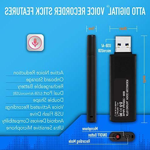 Slim Voice – USB | 8GB - 94 Hours Kbps | Memory Stick Recorder | lightREC by Digital