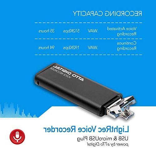 Slim – Drive | | 8GB Hours | 512 Kbps Quality Easy Use Memory Sound Recorder | Digital