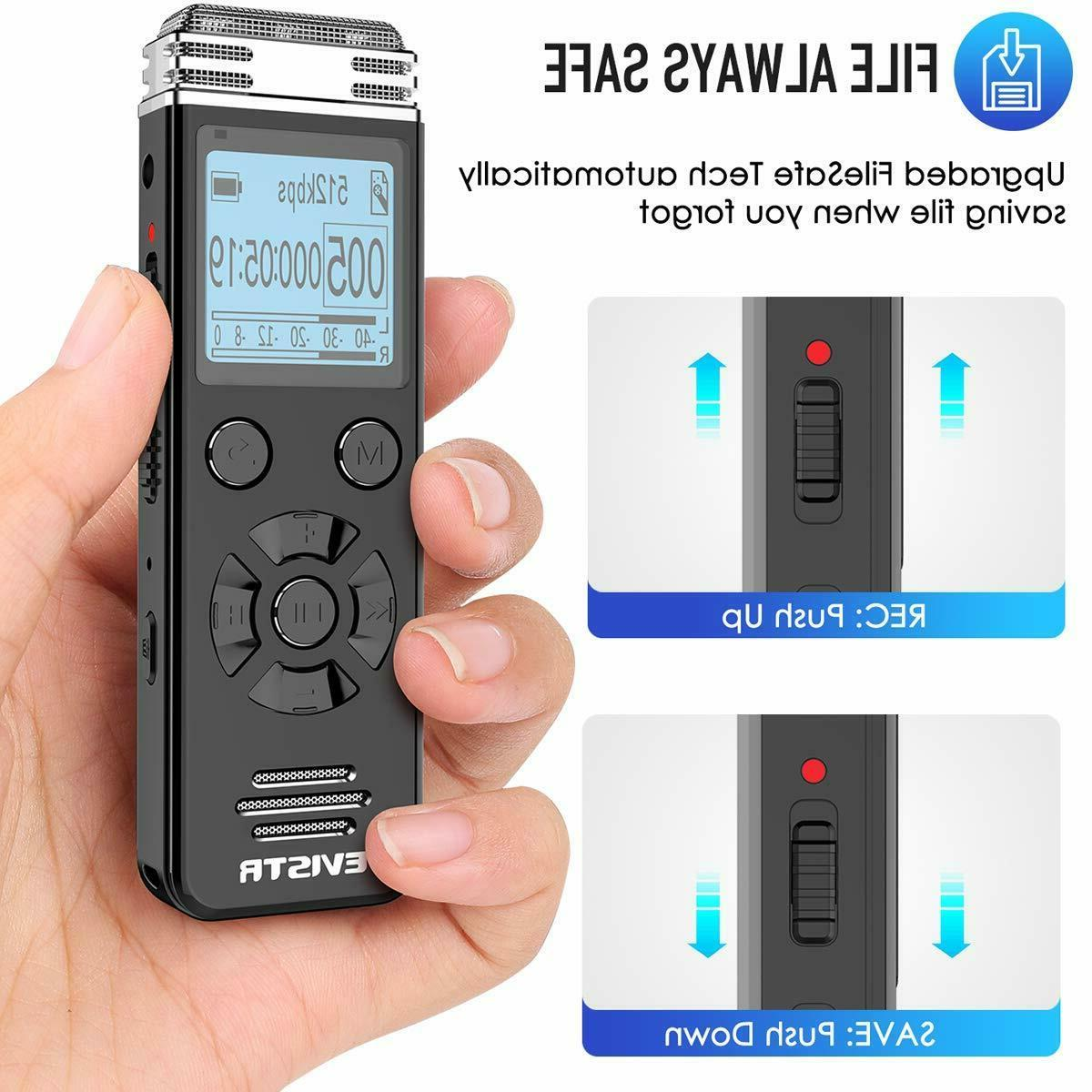 EVISTR 16gb Digital Voice Recorder for Lectures Meetings - Recordi