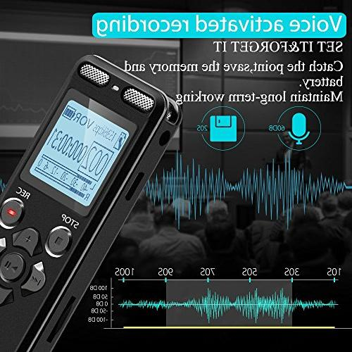 16GB Recorder Eztecpro Hours Sound Audio Dictaphone Activated Recording Device with