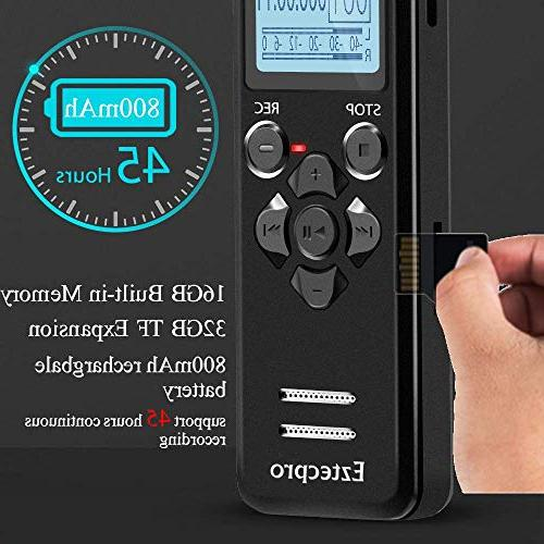 Recorder for Lectures - Eztecpro 580 Audio Activated Recorder Device with