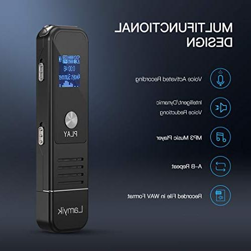 Digital 16GB Sound Audio Recorder with Playback,Handheld Portable with Double Support Meetings