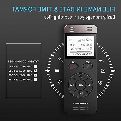 Digital Yemenren 8GB Sound Recorder Dictaphone Meetings, Rechargeable
