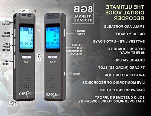 Best Activated Recorder Device - Audio Recording & Portable Digital Dictaphone Player, USB by dB9PRO