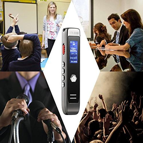 Voice Digital Sound 8GB Transcribe APP Recorder, MP3 Multi-connectors Meetings