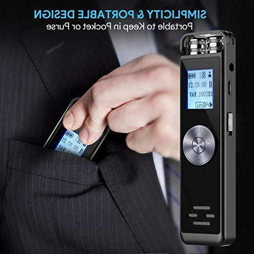 Digital Voice Recorder,TENSAFEE Activated Dictaphone,Portable Recorder with Microphone Support TF Card Expand Lectures/Meetings/Interviews/Class