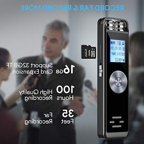 Digital Voice 16GB Activated Dictaphone,Portable HD USB digital Recorder with Support TF Expand for