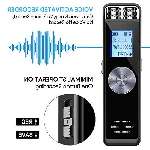 Digital Activated Audio Recorder Dictaphone,Portable Recorder Double Microphone Support Expand for