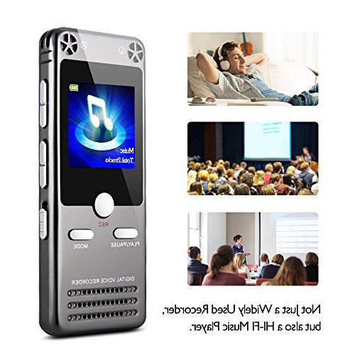 16GB Digital Recorder for Lectures Tape Recorder Recording Device with MP3, Radio