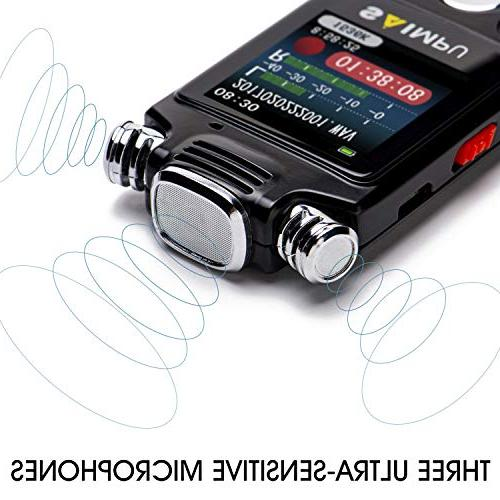 Recorder for Lectures and Meetings,Voice Activated Audio Recorder Dictaphone Tape Recorder Device MP3