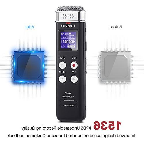 EVISTR Digital Recorder Voice Activated Recorder with - Small Lectures, Mini Audio Recorder MP3