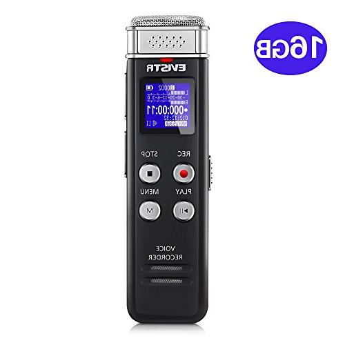 EVISTR 16GB Digital Recorder with Playback Small Lectures, Meetings, Interviews, Mini Audio Recorder USB Charge, MP3