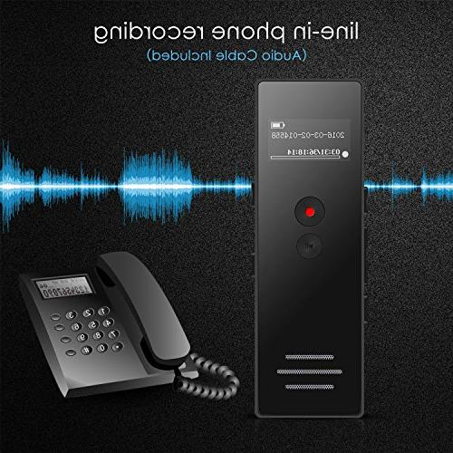 Voice Recorder Dictaphone Recorder Double Microphone Activated Up to for Lectures by