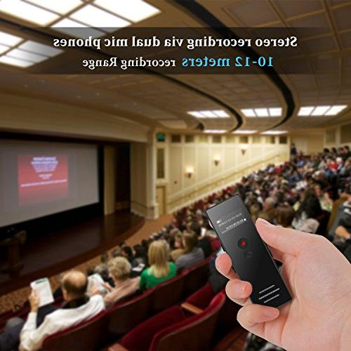 Dictaphone Recorder Microphone with Activated Recorder Expandable to 128GB Lectures Black