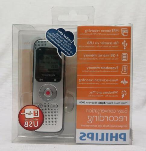 Philips Voice Recorder DVT2000, expandable 4GB/MP3 player/US