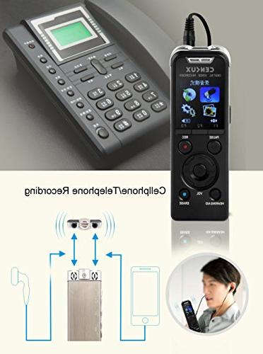 CENLUX Professional Voice Recorder Microphone HD MP3 with 8GB