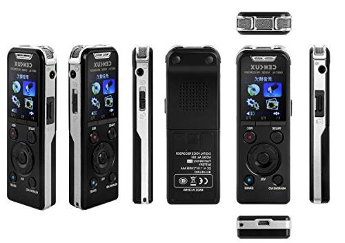 CENLUX Digital Voice Recorder Microphone MP3 Player Speaker Noise Cancellation 8GB Memory