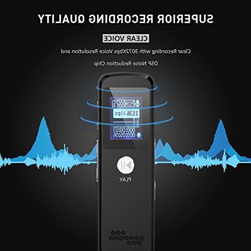 Digital Voice Recorder,16G Mini Multifunctional Audio Dictaphone Meetings Reduction USB