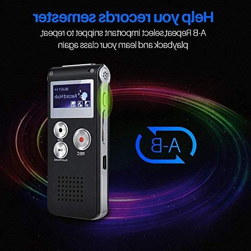 Voice Recorder Digital Voice Activated Recorder - Sound Audio Double Microphone Body Lecture