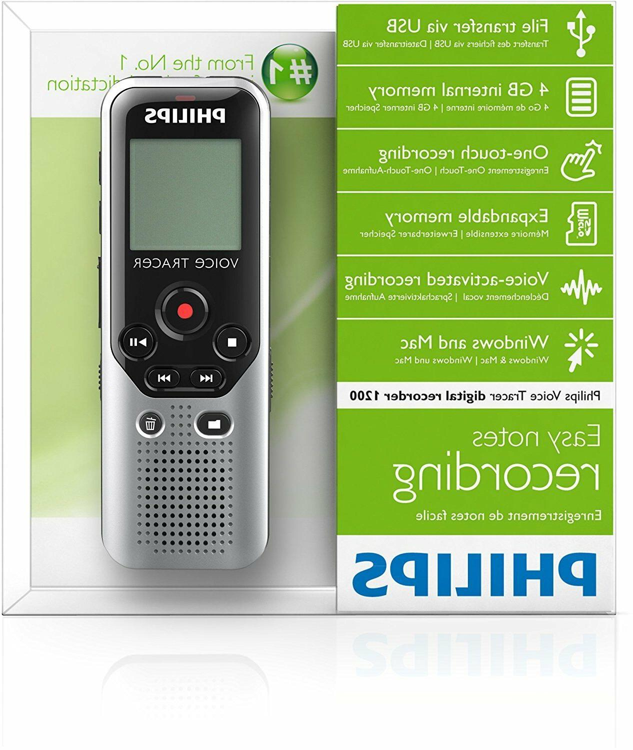 Philips Voice Tracer 4GB Digital Voice New