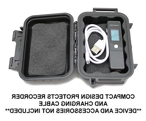 CASEMATIX Waterproof Recorder Case fits L57, Yemenren Recorder 4 with and Cable
